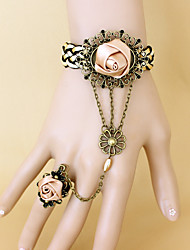 New Fashion Retro Coffee Rose Bracelet Ring Set