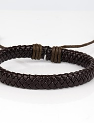 Comfortable Adjustable Men's Leather Cool Hard Bracelet Dark Brown Leather(1 Piece) Jewelry Christmas Gifts