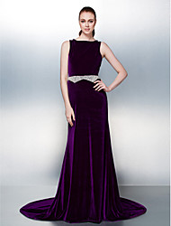 TS Couture Dress - Open Back A-line Bateau Court Train Velvet with Beading Pearl Detailing Sash / Ribbon
