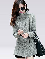 Delargent Women's Elegant Zipper Tweed Warmth Coat
