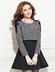 cuello redondo de dos piezas moshion de las mujeres como el vestido de tweed