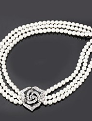 U7® 3 Layers Big Rose Flower Synthetic Pearls European Austrian Rhinestone Luxurious Necklace Fashion Jewelry