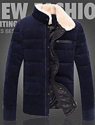 Wans мужская сплошной цвет стоять шеи махровые оболочка толстого хлопка пальто