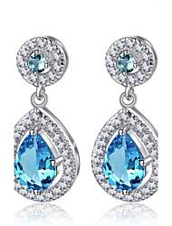 Aquamarine Teardrop Earrings for Women