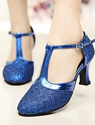 Non Customizable Women's Dance Shoes Modern Paillette Cuban Heel Black/Blue/Gold