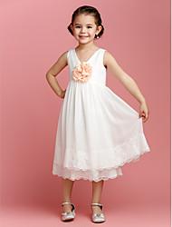Sheath/Column Tea-length Flower Girl Dress - Chiffon Sleeveless