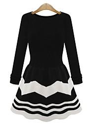 Frauen Shirt Scoop Neck Streifen Baumwollstrick Plisseekleid