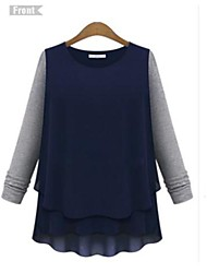 Women's Patchwork Blue/Beige Blouse , Round Neck Long Sleeve