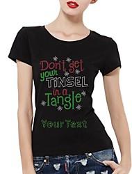 Baumwolle mit kurzen Ärmeln personalisierte Strass t-shirts Schneeflocke und Briefe Musterfrauen