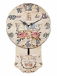 modello di porcellana retrò rotonda di legno orologio da parete