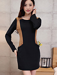 JingShang nuevo invierno engrosamiento delgado, además de terciopelo de manga larga grandes yardas basa el vestido 2008black, vino, azul, gris oscuro