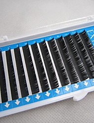 1 boîte de cils fibre noire fausse les yeux (d boucle, diamètre 0,15 mm, longueur 9mm)