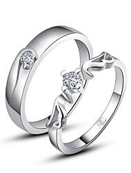 cadeau personnalisé simples en argent sterling 925 anneaux couple
