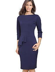 moda cuello redondo manga 3/4 vestido de color sólido de las mujeres en Monta