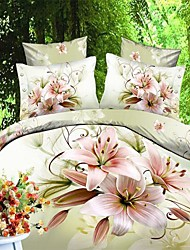 Duvet Cover Set,3D Oil Painting Bedding Set  4pcs Comforter Duvet Covers Bed Sheet Bedclothes Set with Flower Pattern