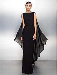 Homecoming Formal Evening Dress - Black Sheath/Column Bateau Watteau Train Chiffon