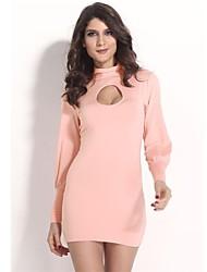 2014 New Fashion Women Long Sleeve Sweet Pink Spring Bodycon Bandage Dress Dress KM045
