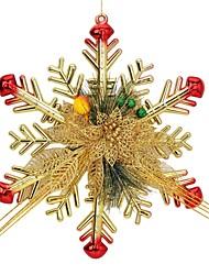 Christmas Pine Needle Snowflake Pendant Decorator for Christmas Tree - Red + Golden + Green