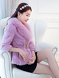 Fur Coat 3/4 Sleeve Pillow Rabbit Fur&Fox Fur Special Occasion/Casual Fur Coat(More Colors)