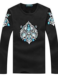 Black Cotton Pattern T-Shirt