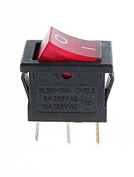 interruttore a 3-pin ON / OFF - rosso (6a, ac 250v / 10a, ac 125V) (10pcs)