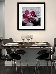 Floral/Botanical Framed Canvas / Framed Set Wall Art,PVC Black Mat Included With Frame Wall Art
