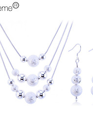 Lureme®925 Sterling Silver Plated Matte Balls Pearl Necklace Earrings Jewelry Set