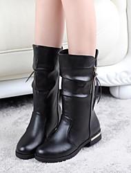 Zapatos de mujer - Tacón Bajo - Punta Redonda - Botas - Vestido - Semicuero - Negro / Marrón