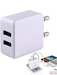 2.1A EU Plug Dual USB Output Universal Adapter With USB Port-White(100-240V/Length:95cm)