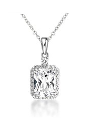 Princess CZ Pendant Necklace for Women