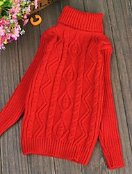 Girl's Solid Sweater & Cardigan,Knitwear Winter / Fall Pink / Red / White / Yellow