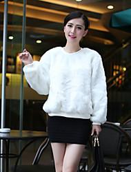 sudaderas con capucha de piel sintética suave cálido invierno de las mujeres Hanshi
