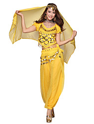 Belly Dance Dancewear Women's Chiffon Tassels Outfits Including Top, Bottom, Belt, Gauze Kerchief(More Colors)