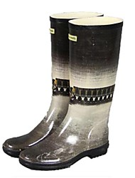 Women's Shoes Feihe Rain Boots Low Heel Rubber Knee High Boots