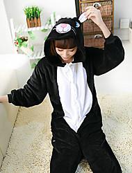 Kigurumi Pijamas Gato Malha Collant/Pijama Macacão Festival/Celebração Pijamas Animal Preto Miscelânea Lã Polar Kigurumi Para UnisexoDia