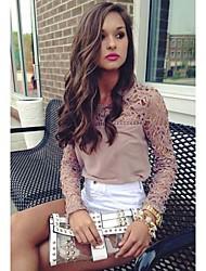 Peach John Women's Long Sleeve Slim Fashion Round Collar Lace Cut Out T-Shirt