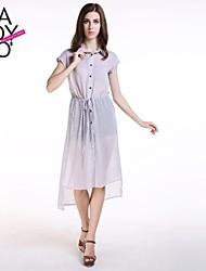haoduoyi® Women's Single Buttoned Drawstring Waist Short Sleeve Long Shirt Dress