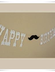 """""""Happy birthday com bigode"""" bandeira do partido de aniversário bonito"""