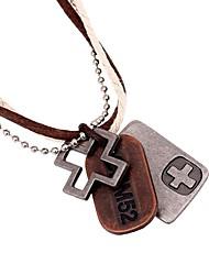 European Hollow Cross Plate Leather Pandant Necklace(1pc)