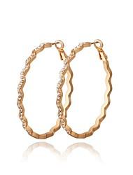 vague de la mode forme de cristal de zircon or alliage cerceau boucle d'oreille des femmes (1 paire)