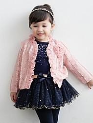 Girl's Pink Princess Skirt Three-piece Sets Flower Tulle Short Skirt Coat Long T-shirt Flower Outwear