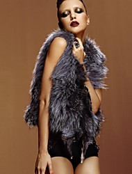 Fur Vest Sleeveless V-Neck Natural Spliced Silver Fox Fur Casual Vest