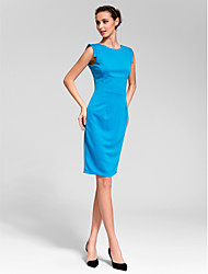 Cocktail Party Dress Sheath / Column Jewel Knee-length Polyester with