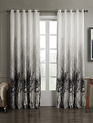 One Panel Grommet Top Ink Painting Style Trees Energy Saving Curtain