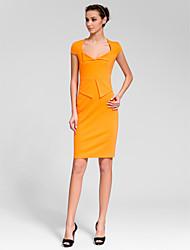 Cocktail Party Dress Sheath/Column V-neck Knee-length Polyester