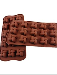 15 Hole Chinese Knot Shape Cake Ice Jelly Chocolate Molds,Silicone 20×10.5×2 CM(7.9×4.3×0.8INCH)