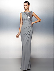 TS Couture® Formal Evening Dress Plus Size / Petite Sheath / Column Jewel Floor-length Jersey with Sequins / Side Draping