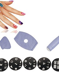 8Pcs Nail Art Rubber Stamp Stamping Polish Template Transfer DIY Design Kit Decor(Random Pattern)