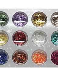 12 traje de color metal pesado textura manicura manicura lentejuelas circular decoraciones del arte del clavo