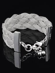 Women's Fashion Weave Net Silver Plated Bracelet